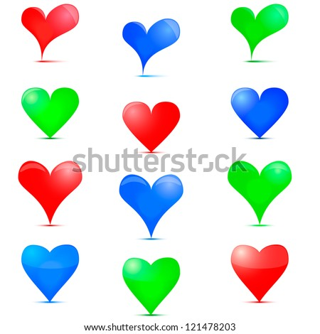 Heart Icon. Colorful icons on Valentine day.