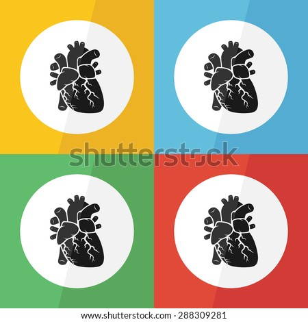 Heart icon ( flat design ) on different color background ( front view ) Use for heart disease ( Ischemic heart disease , Myocardial infarction , Coronary artery disease , Valvular heart disease ,etc )