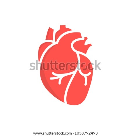 heart icon in flat style isolated vector illustration on white transparent background