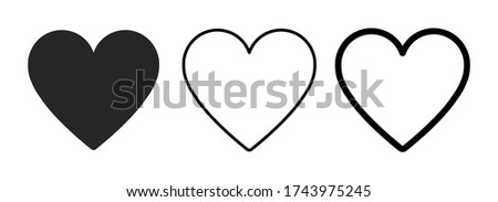heart icon in 3 types heart