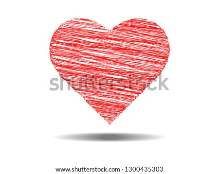 7ed149a8234 Heart Icon Vector in pencil stripes line. Love symbol for Valentine s Day  sign isolated on