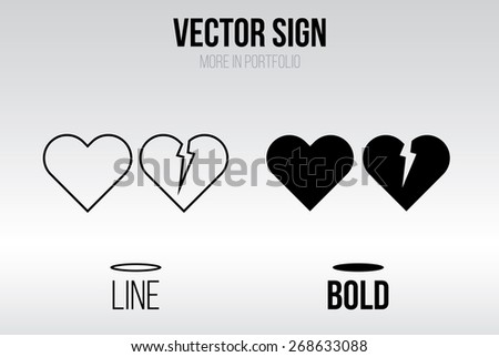 heart icon vector  linear and