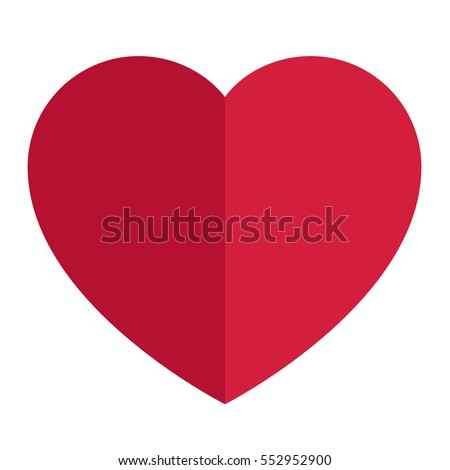 Heart Icon Vector. Love symbol. Valentine's Day sign red heart made of two halves, dark and light isolated on white background.