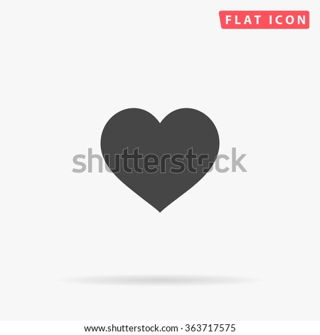 Heart Icon Vector.  Perfect Love symbol. Valentine's Day sign, emblem isolated on white background with shadow, Flat style for graphic and web design, logo. EPS10 black pictogram. - Shutterstock ID 363717575