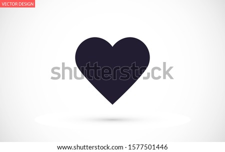 Heart Icon Vector. Perfect Love symbol. Valentine's Day sign,Heart Icon Vector emblem isolated on white background with shadow, Heart Icon Vector Flat style for graphic and web.