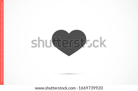 Heart Icon Vector. Vector image of a flat, linear heart icon. Perfect Love symbol. Flat style for graphic and web design. Flat simple grey symbol on white background with shadow.