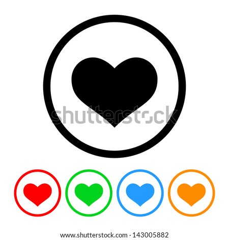 heart icon vector with four