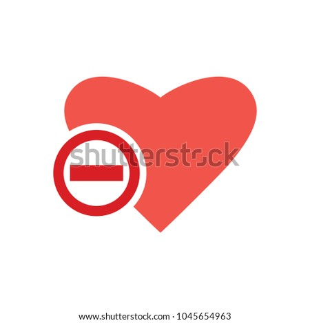 Heart icon with remove sign
