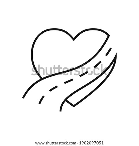 Heart icon with road icon. Vector illustration. Abstract conceptual icon of love. Heart shape in flat linear design Photo stock ©