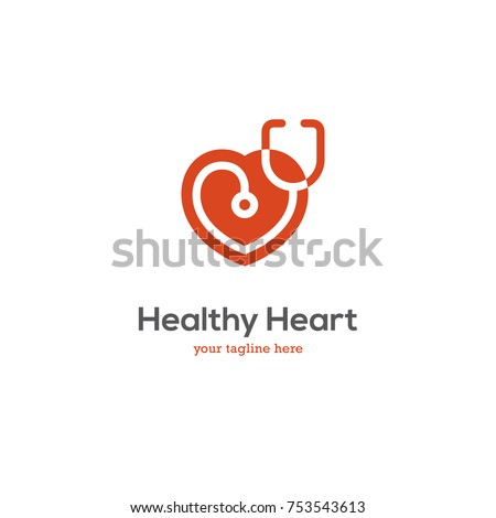 Heart icon with stethoscope. Cardiology health care center, clinic logo.