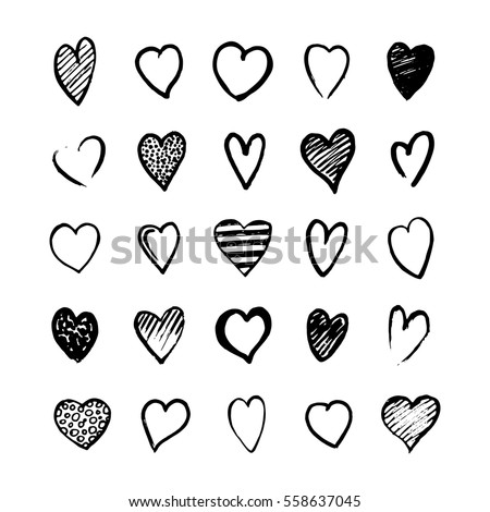 heart icons hand drawn set in