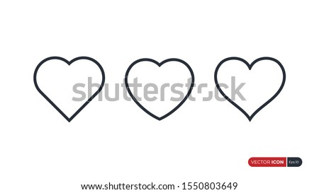 Heart Icons isolated on White Background. Symbol of Love. Flat Line Vector Illustration. Simple Icon Design Template Elements.