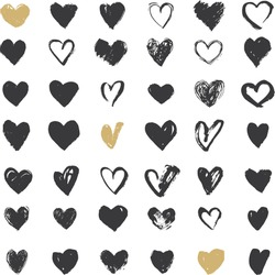 Heart Icons Set, hand drawn icons and illustrations for valentines and wedding