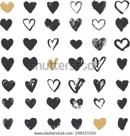 heart icons set  hand drawn