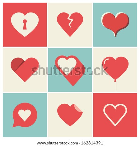 Heart Icons Set, ideal for valentines day and wedding