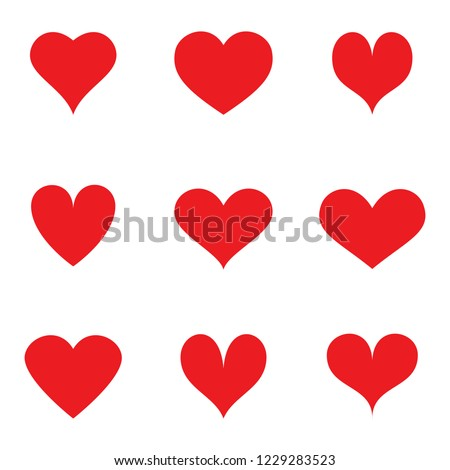 Heart icons set isolated on white background. Collection of flat hearts for web site, poster, placard, wallpaper and Valentine's day. Creative art, modern design concept. Vector illustration
