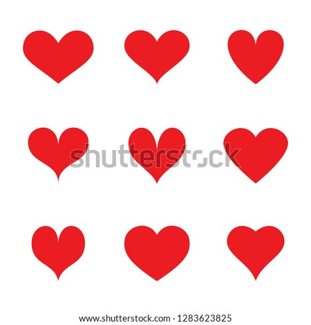 Heart icons set isolated on white background. Modern collection of different hearts for web site, sticker, label, tattoo art, love logo and Valentine's day. Creative art concept, vector illustration