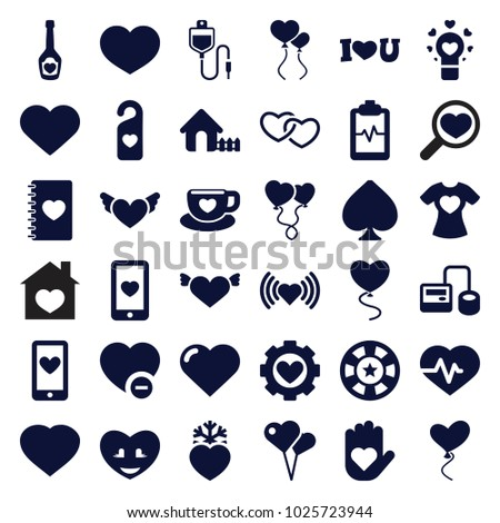 Heart icons. set of 36 editable filled heart icons such as heart, house, with wings, shaped air balloon,  blood pressure tool, spades
