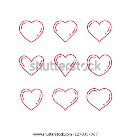 Heart icons, thin linear vector symbols
