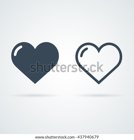 Shutterstock heart icons vector illustration. Full heart and stroke heart symbols