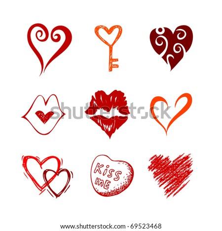 Heart icons, vector symbol set - stock vector
