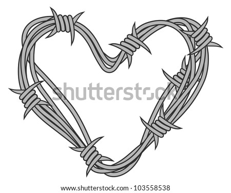 heart in barbed wire for love