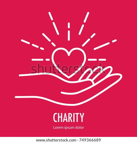 Heart in hand symbol line icon. Logo template for charity and donation, voluntary and non profit organization. Vector illustration isolated on red background.