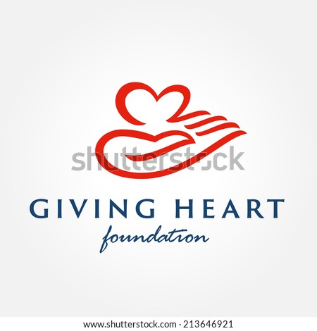 Heart in hand symbol, sign, icon, logo template for charity, health, voluntary, non profit organization, isolated on white background, vector illustration