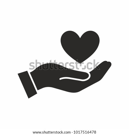 Heart in hand. Vector icon. Stock photo ©
