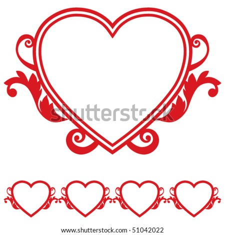 heart in shape frame, vector image - stock vector