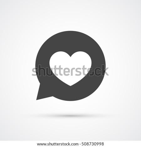 Heart in speech bubble black icon. Vector illustration