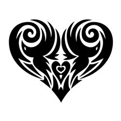 Heart in tattoo style, heart with a picture of birds,lace heart-shaped pattern, black and white vector illustration.