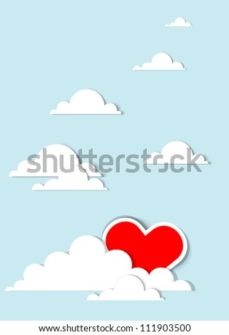 heart in the clouds - stock vector