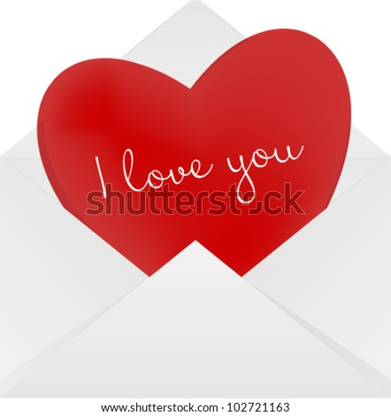 Heart in the envelope. Long distance relationship concept