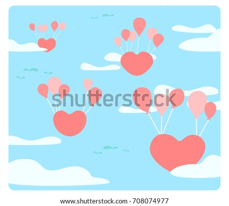 Heart is floating on the sky with balloons, The love are floating, heart floating with red balloon, Feel of love, An abstract picture that conveyed love, cute vector, colorful illustration, cute style #708074977