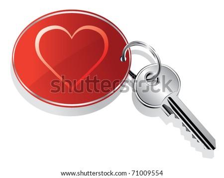 heart key ring vector