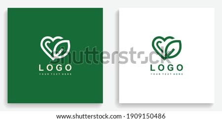 heart leaf icon symbol logo
