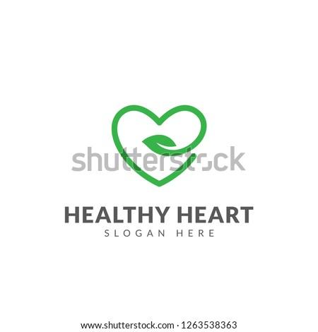 Heart leaf logo, healthy heart logo vector design template