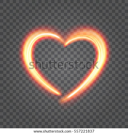 Heart Light Isolated on Transparent Background. Easy replace backdrop. Vector Design element.