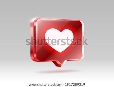 Heart like icon, sign follower 3d banner, love post social media. Vector illustration