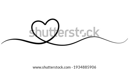 Heart Line Drawing. Continuous Line Drawing of Heart Trendy Minimalist Illustration. Love Symbol One Line Abstract Minimalist Contour Drawing. Vector EPS 10.
