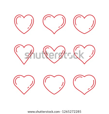 Heart linear icons, love symbol collection