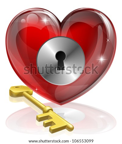 heart lock and key concept