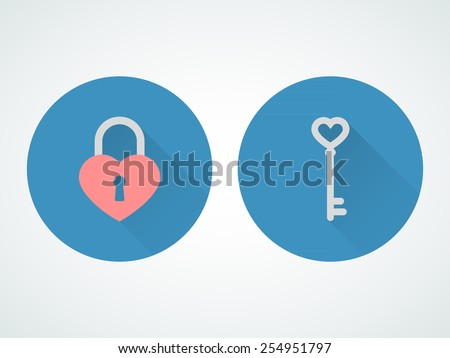 heart lock and key flat design