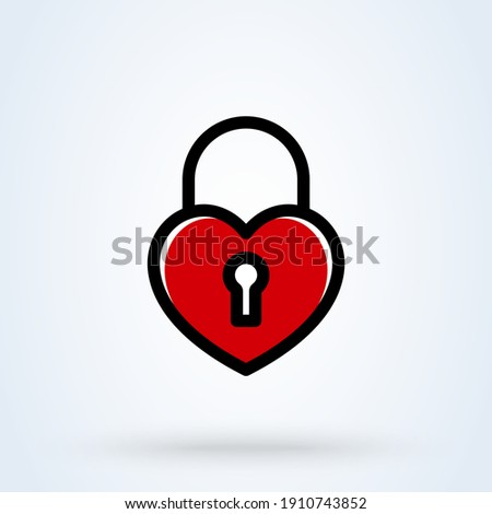 heart lock line sign icon or