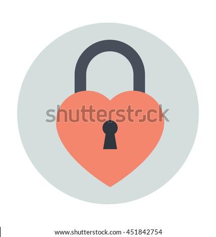 heart lock vector icon