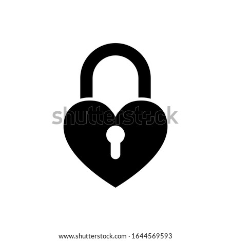 heart lock vector icon on white