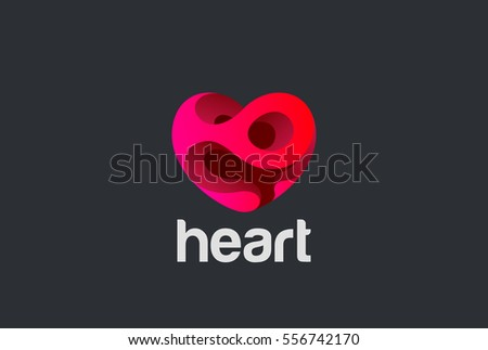 Heart Logo design vector template. St. Valentine day of love symbol. Cardiology Medical Health care Logotype concept icon