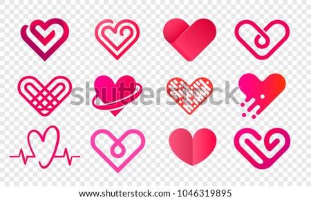 heart logo vector icons set