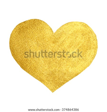 Heart Love Gold Watercolor Texture Paint Stain. Golden design element.